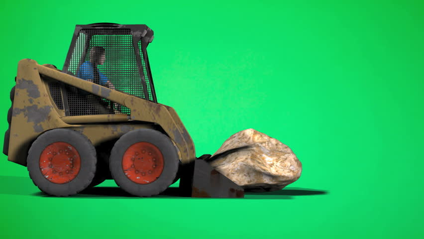 Man driving Skid-Steer Loader hauling a big rock off screen. Then returns with a empty bucket. Green Screen easy editing and looping