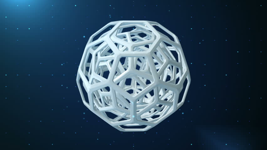 Animation rotation of abstract spheres with texture of hexagon honeycombs on background with technologic glowing dots. Animation of seamless loop.