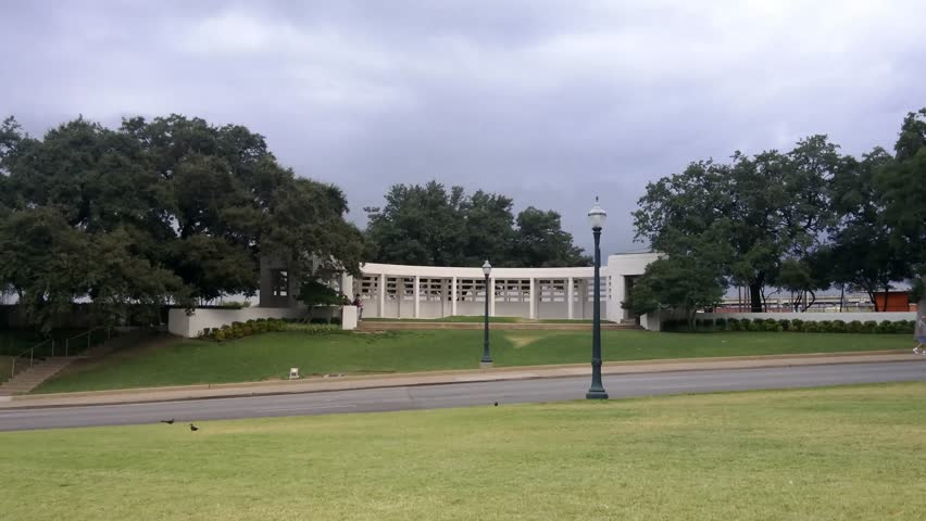 Dallas, Texas - August, 2015 - Modern day view of the grassy knoll in the JFK assassination.