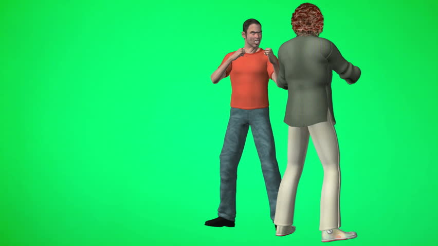 Two men fighting. One lands a solid punch the other is knocked out cold and falls on the ground. Green Screen Animation. Three camera angles. Easy editing and looping.