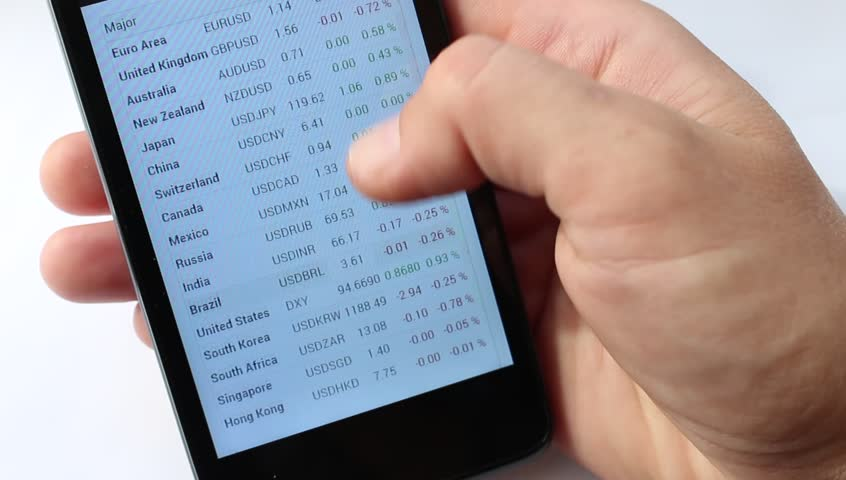 Online List of circulating currencies. Europe and Asia. Exchange rates display in smart phone. Market Analysis. Exchange rate. Foreign exchange market. Fluctuations in exchange rates. - HD stock footage clip