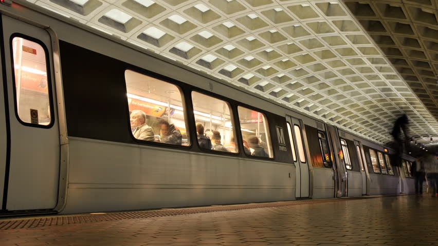 time lapse subway and passengers - HD stock footage clip