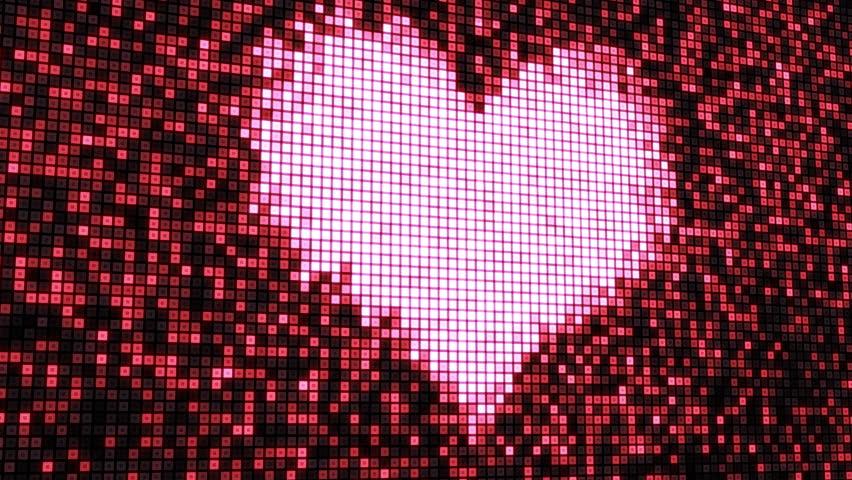 heart shape on digital screen seamless loop - HD stock video clip