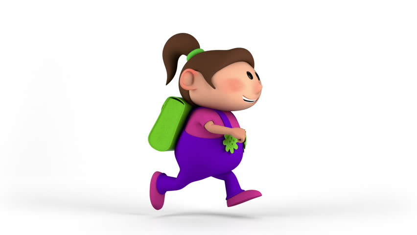 school girl with satchel running - back to school concept - high quality 3d animation