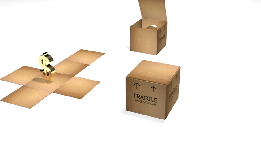 "3 cardboard boxes with ""Fragile Handle with Care"" open to become flat and reveal a golden currency symbol. Euro, Dollar and Yen or Yuan symbols."