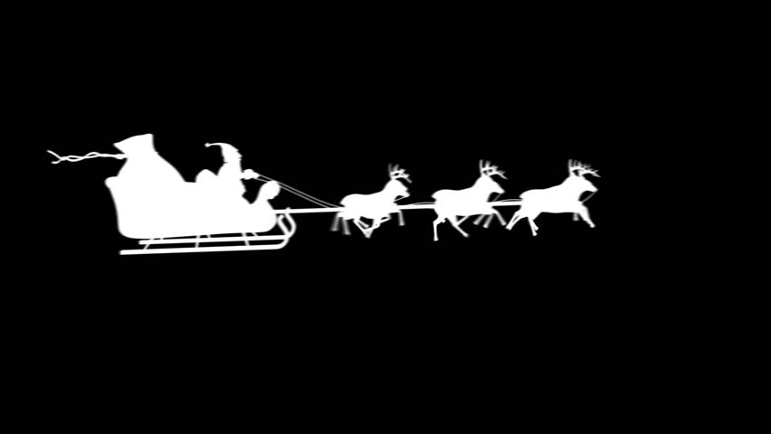 Santa silhouette flying. 3 videos in 1 file. Santa Claus and his reindeers flying in the sky. Alpha matte. More options in my portfolio.