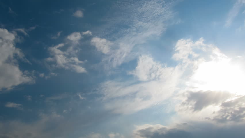 Dark Blue Sky Background: Moving Clouds And Blue Sky In Black And White Stock