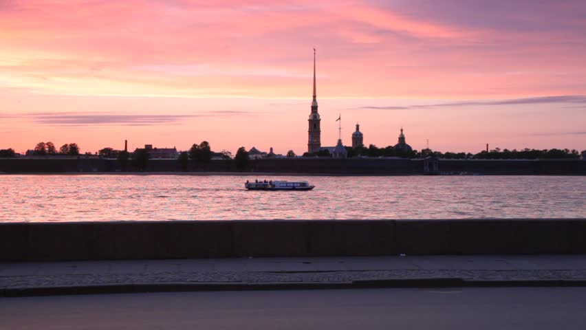 passenger ship sails along Neva by Peter and Paul Fortress - HD stock video clip