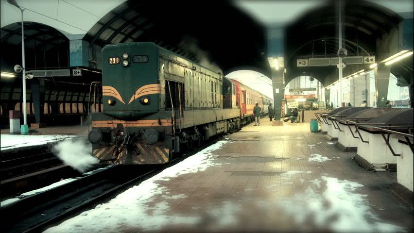 People on platform on station of railway HD 1920x1080p