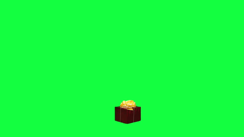 Santa Claus with a gift box chroma key (green screen). Santa finds a present and carries it away isolated on green