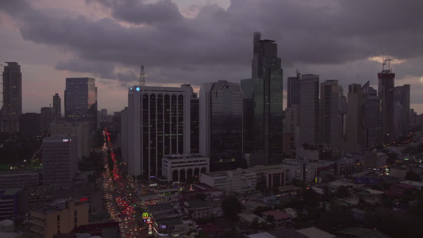 Manila, Philippines - Sept 23, 2015: Twilight  shoot of Makati City skyline. Makati is one of the most developed business district in Metro Manila, Philippines.