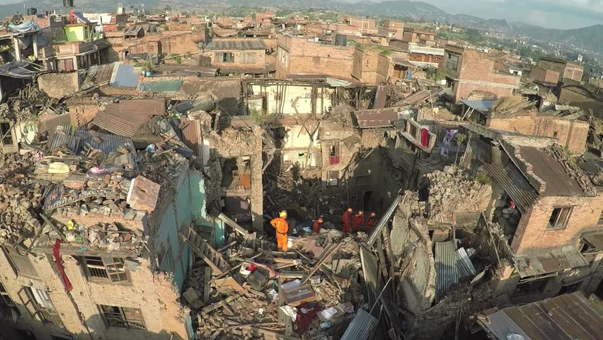drone shots at Bhaktapur Nepal with search and rescue team at work after the earthquake in april 2015