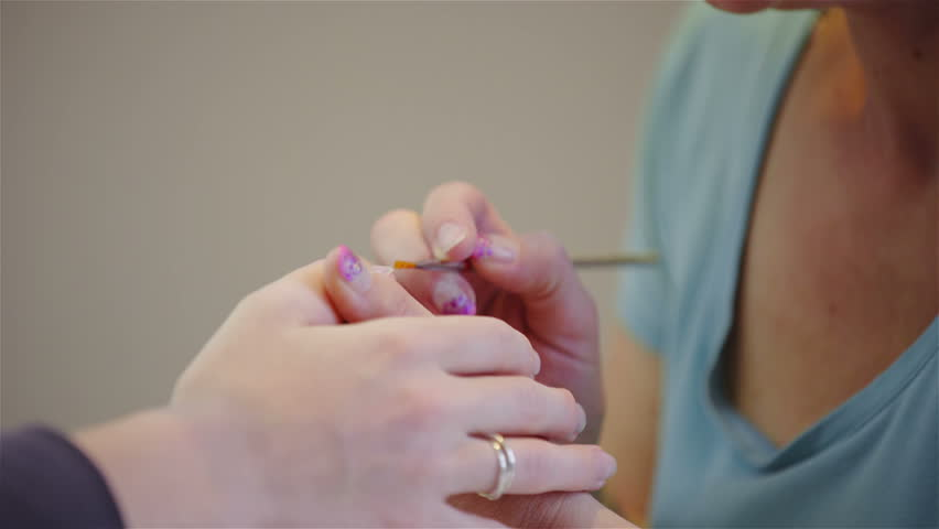 manicure with gelling procedure at salon. - 4K stock footage clip