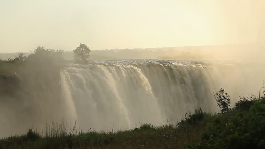 Victoria falls at sunset - HD stock video clip