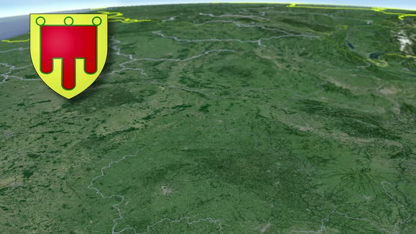 Auvergne whit Coat of arms animation map Regions of France
