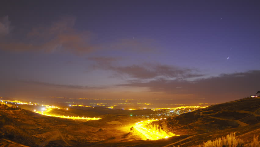Israel - March, 2011: Time lapse of dawn breaking over Jordan.