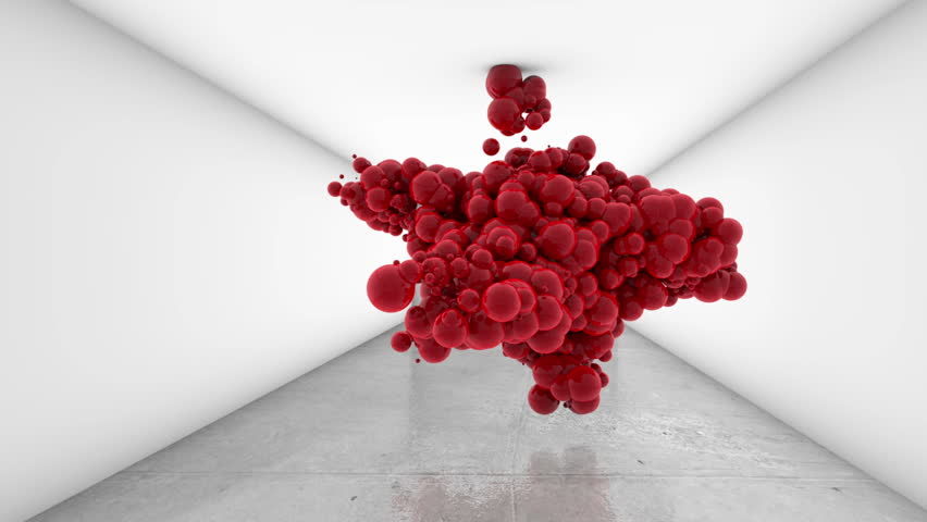 3d animation red balls in white gallery room HD 1080p 30fps