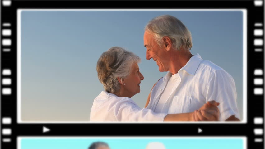 Montage of senior couples relaxing outdoors - HD stock video clip