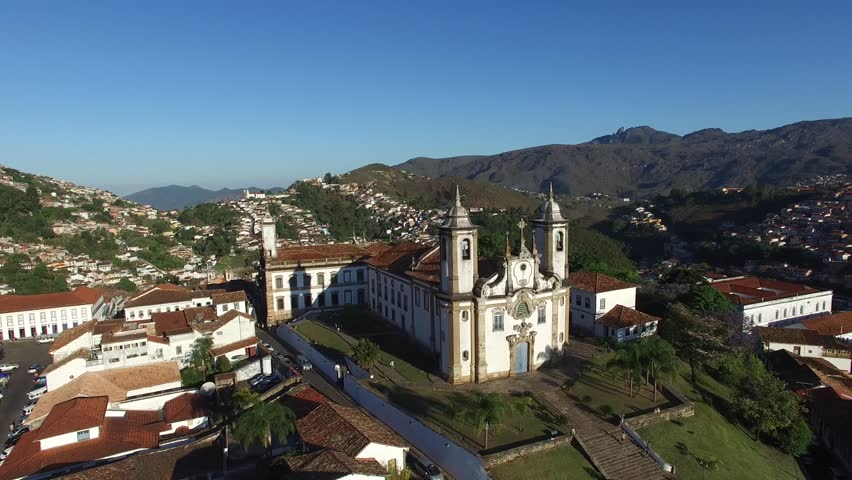 Aerial View of Ouro Preto city, Minas Gerais, Brazil - 4K stock video clip