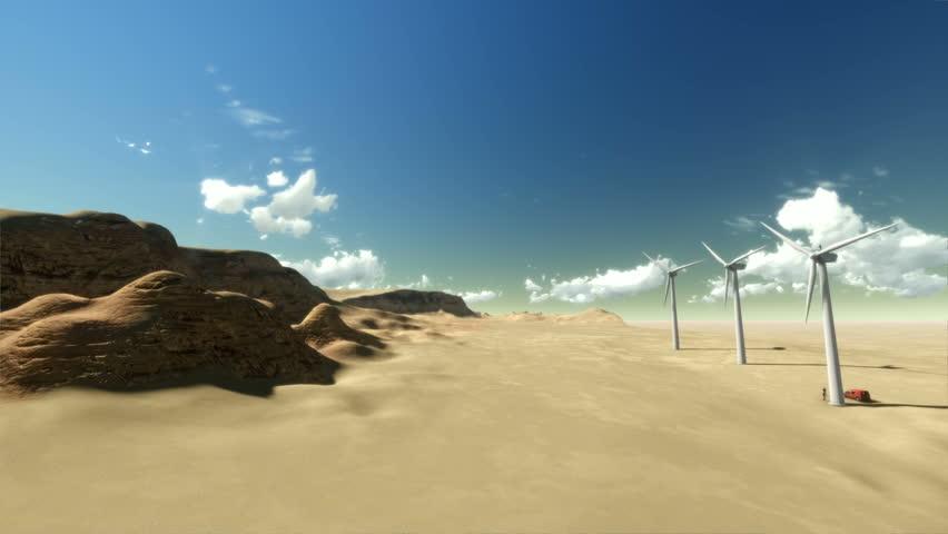 Dry desert time lapse sunrise and windmills
