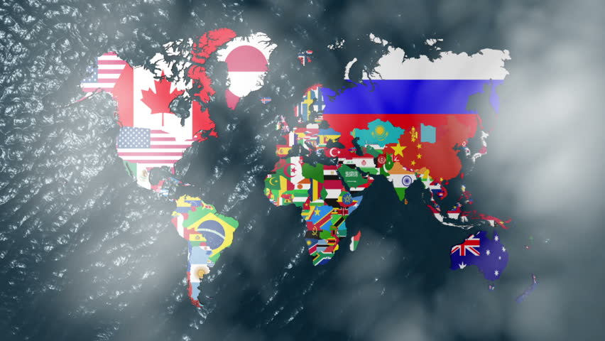 3D Flag World with a Slow Zoom to India with Clouds - HD stock video clip