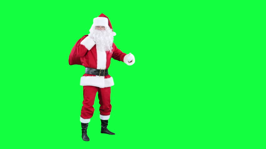 Santa Claus with gift bag chroma key (green screen). Santa is carries a red sack of presents behind him isolated on green