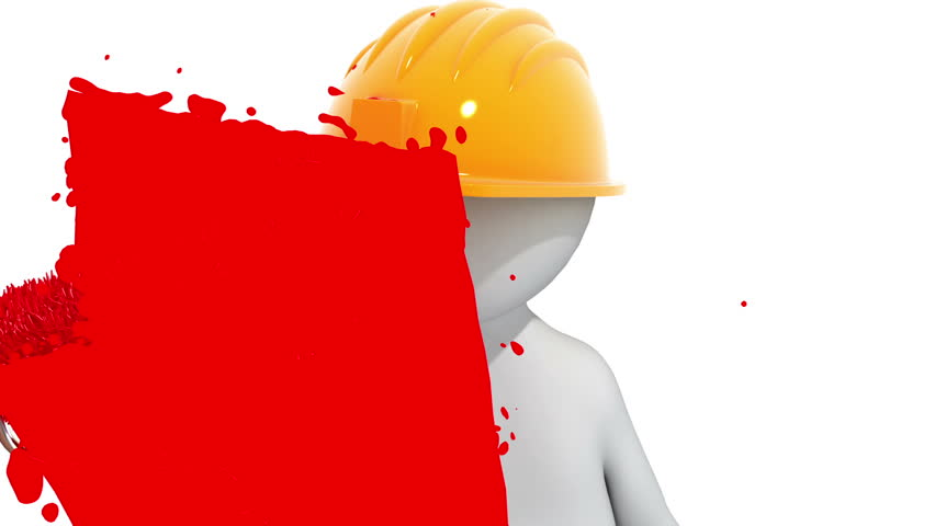 worker paints the screen. 3d animation, alpha matte included - HD stock video clip