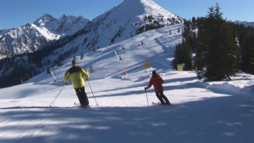 skiing on empty slope