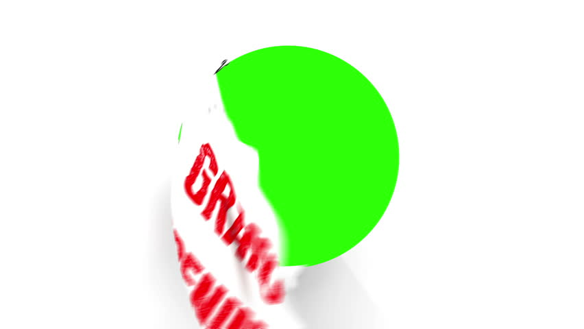 Chrome Scissors cut around a text of Grand Opening in Red. After half way, the circle the scissors have cut starts to fall from the screen. The camera zooms in to a green screen to a transition