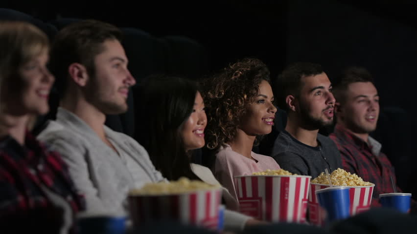 Woman Eating Popcorn And Watched Film. Stock Footage Video ...