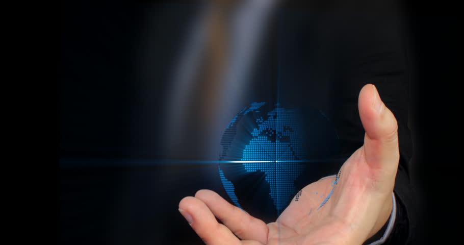 Businessman holding world  - HD stock video clip