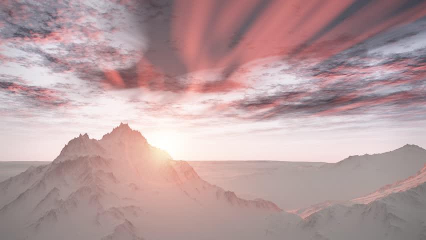 (1258P) Majestic Remote Wilderness Snow Mountains Sunrise Landscape #1251445