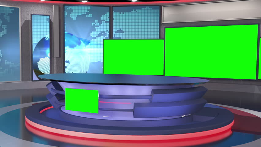Virtual Set Background for green screen news productions