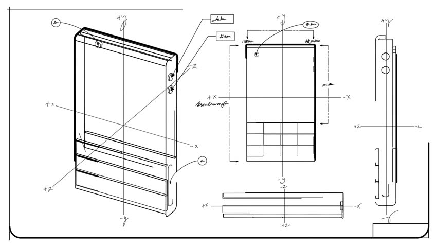 Classic Smartphone Technical Drawing Blueprint Stock
