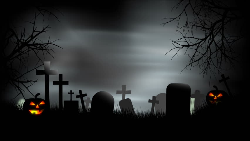 A creepy graveyard halloween background scene with graves, evil pumpkins and spooky sky.