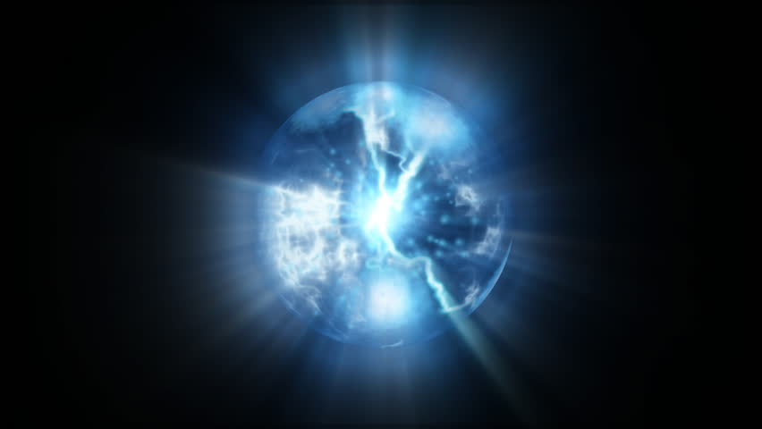 Blue energy abstract with a spherical plasma look radiating electric rays