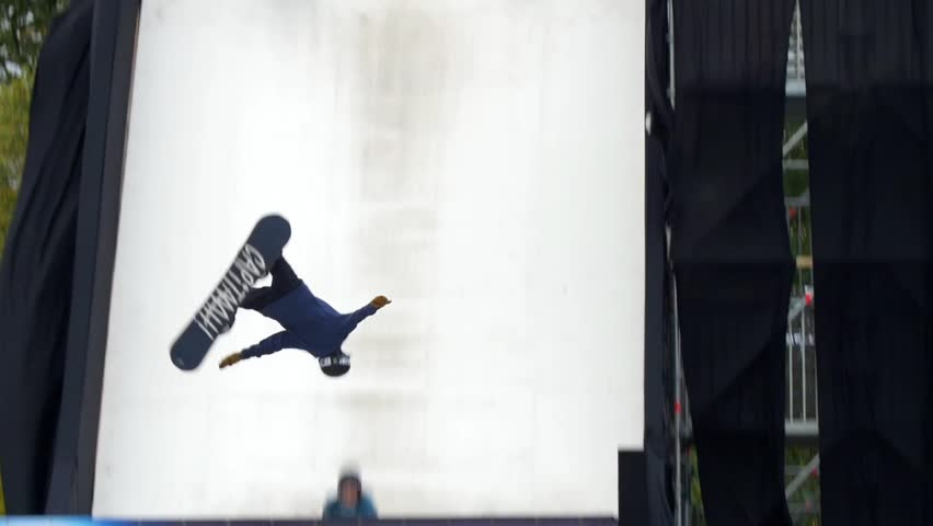 LONDON, UNITED KINGDOM - NOVEMBER 7, 2015 - Acrobatic show of young ski and snowboard champions
