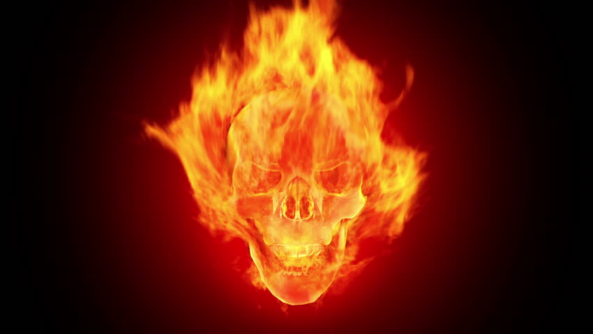 Fire skull - HD stock footage clip