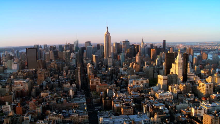 Skyline helicopter aerial view of downtown manhattan new Hd usa