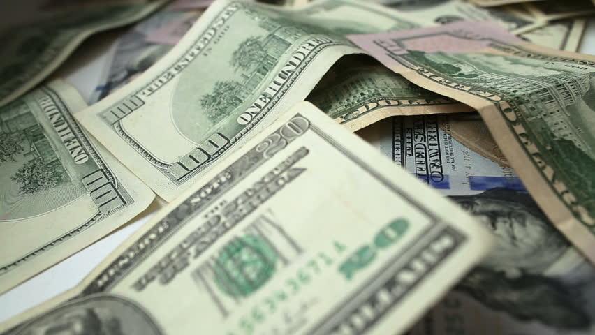 Dollar bills, dolly shot, close up. Full HD - HD stock footage clip