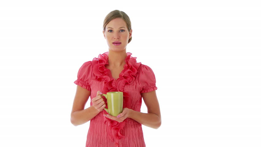 Portrait of woman standing and sipping coffee - HD stock video clip