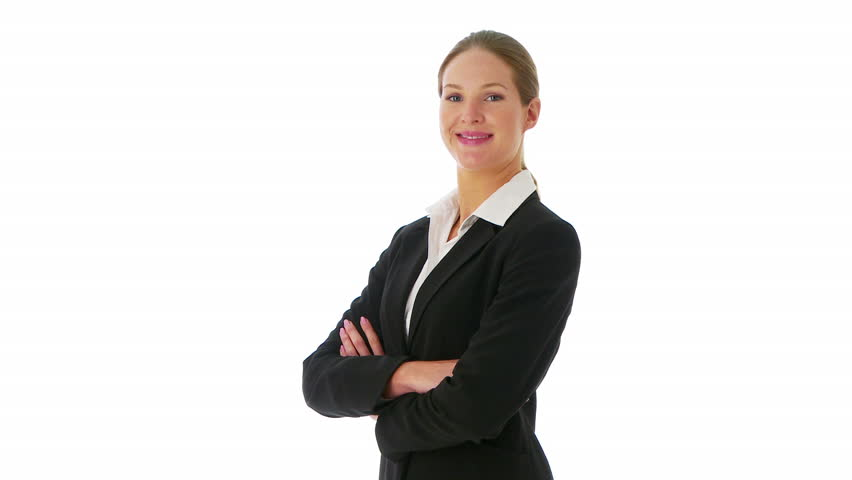 Confident businesswoman crossing arms and looking at camera - HD stock footage clip