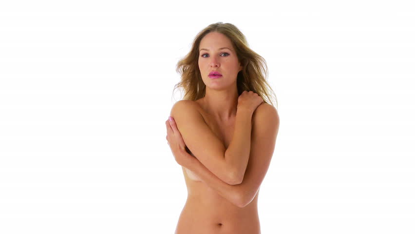 Topless woman covering breasts with arms - HD stock footage clip