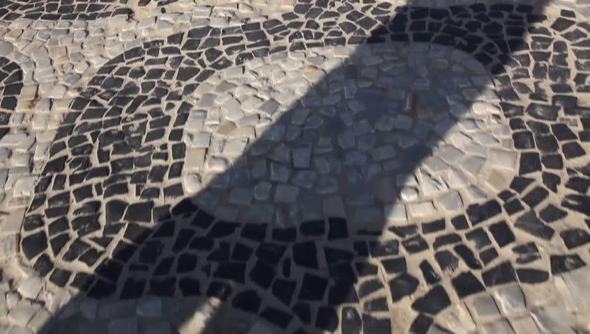 Sidewalk of Copacabana Beach Rio de Janeiro, Brazil  - HD stock footage clip