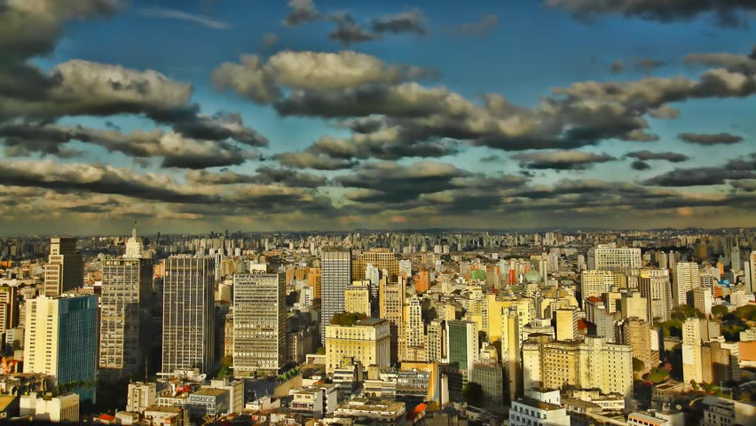 Sao Paulo Brazil skyline sunset time lapse - HD stock footage clip