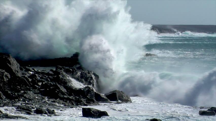 extreme wave crushing coast slowmo - HD stock video clip