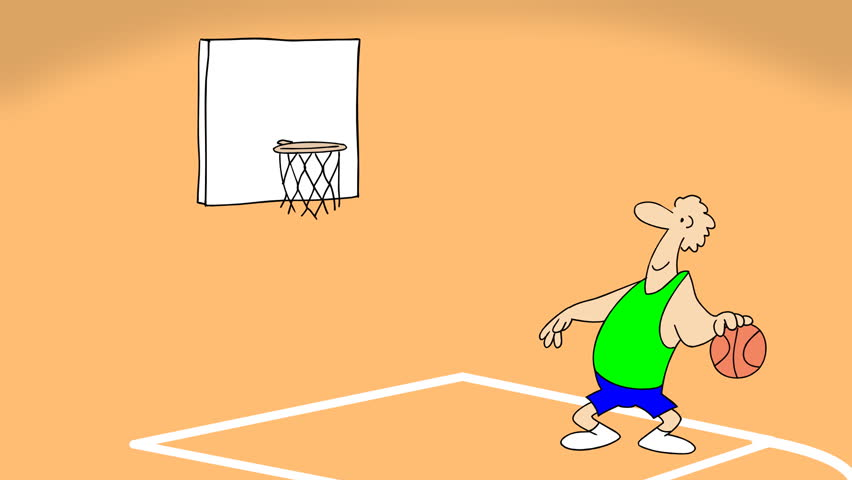 Small gag about basketball game.2D animated cartoon.HD 1080.