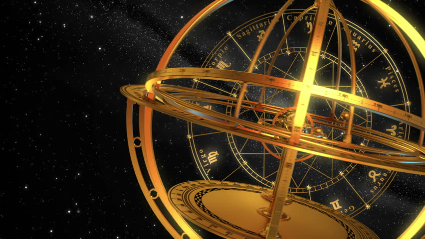 Armillary Sphere And Zodiac Signs. Black Background. 3D Animation. - HD stock footage clip