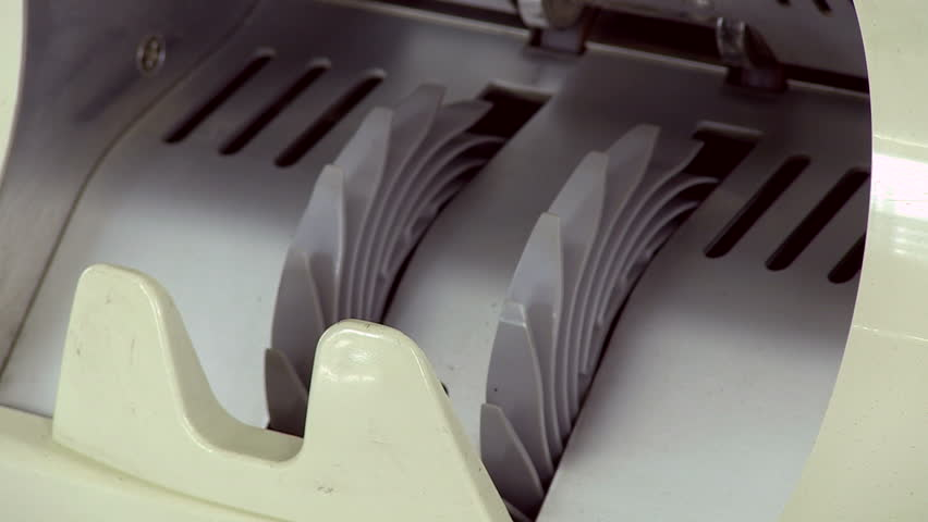Cash money counting machine. Banknote counter are counting hundred dollar bills. Close-up - HD stock footage clip