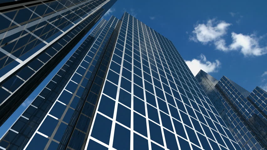Corporate buildings and time lapse clouds 2. HD version - HD stock video clip
